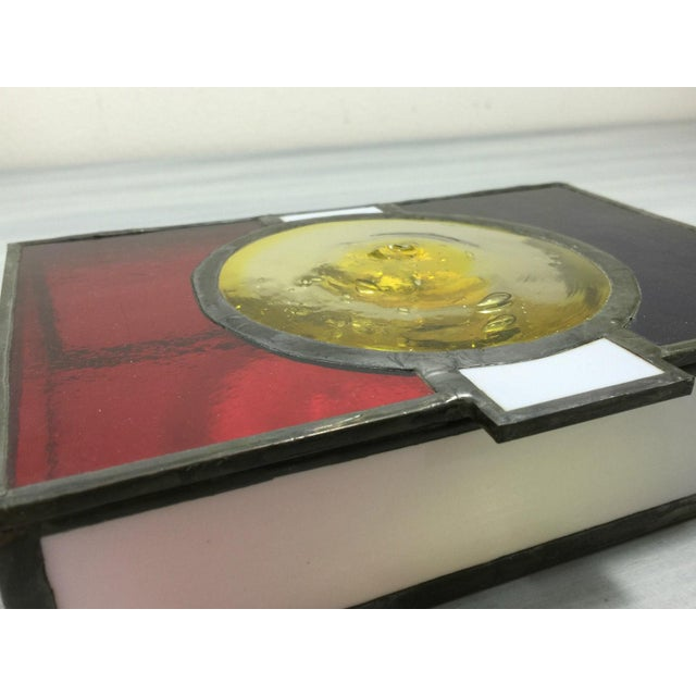 Vintage Mondrian Colored Blown Glass Box - Image 6 of 9