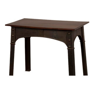Antique English Solid Iron Table Base, Single Plank Mahogany Top circa 1890