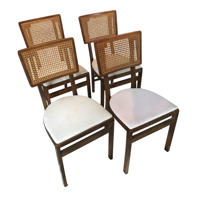 Vintage Stakmore Cane Folding Chairs Set Of 4 Chairish