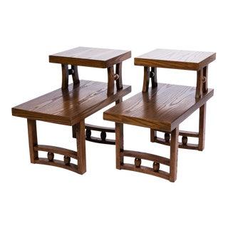 Vintage Oak Step Side Tables - A Pair