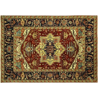 "Hand Knotted Red & Navy Heriz Rug - 10'1"" x 14'1"""