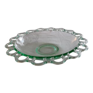 Mid-Century Tinted Green Clear Glass Center Dish