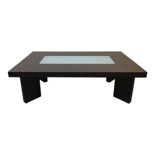 Creative Elegance Espresso Glass Insert Coffee Table