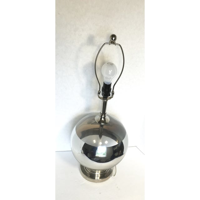 Image of Mid-Century Round Silver Stripe Lamp