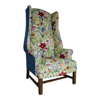 Tall Wingback Chair Upholstered in Bold and Bright Crewel Floral