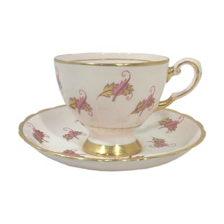 English Pink China Cup & Saucer - A Pair