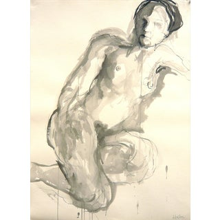 Model in Natural Tones Ink & Charcoal Drawing