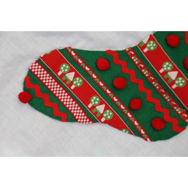 Vintage 1960s Handmade Green Christmas Stocking - Image 3 of 7