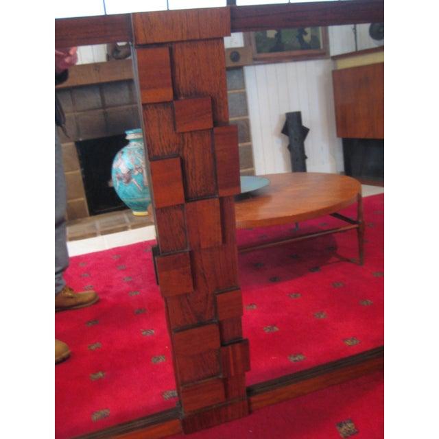 Large Wood Mosaic Brutalist Modern Mirror by Lane - Image 3 of 6