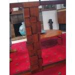 Image of Large Wood Mosaic Brutalist Modern Mirror by Lane
