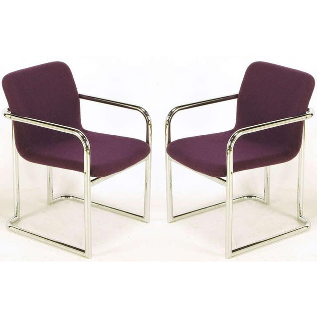 Pair Chrome & Violet Wool Sled Arm Chairs - Image 2 of 9