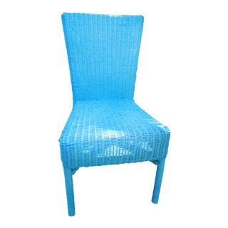 Vintage Aqua Wicker Chair