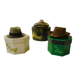 Dobbs Miniature Salesman Sample Hats & Boxes- Set of 3