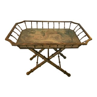 Maitland Smith Wood and Metal Tray Table