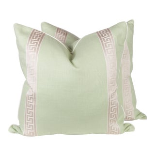 Green Linen & Ivory Greek Key Pillows - A Pair