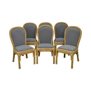 Vintage Rattan Bamboo Frame Dining Chairs - Set of 6