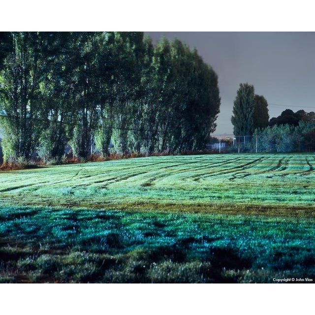Image of Tracks in Field - Night Photograph by John Vias