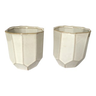 Glazed Geometric Cachepots - A Pair