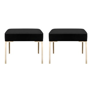 Astor Brass Ottomans in Noir Ultrasuede by Montage, Pair