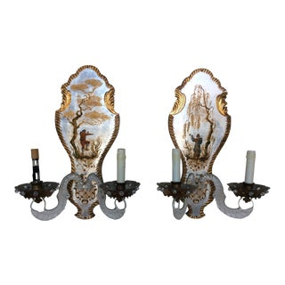 French Chinoiserie Lucite Wall Sconces - A Pair