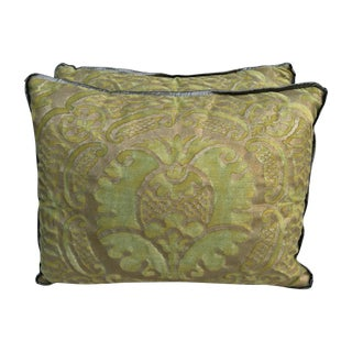 Green & Metallic Gold Fortuny Pillows - A Pair