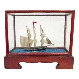 Miniature Model Sailing Ship in Wood & Glass Case