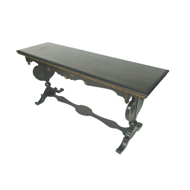 Image of Chinoiserie Decorated Wooden Console Table