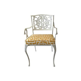 Wrought Iron Arm Chair With Greek Key Textile