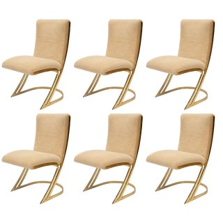 Pierre Cardin Brass Cantilever Dining Chairs - Set of 6