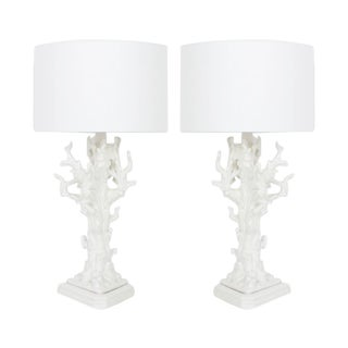 Striking Pair of Very Large Mid-Century White Coral Porcelain Table Lamps