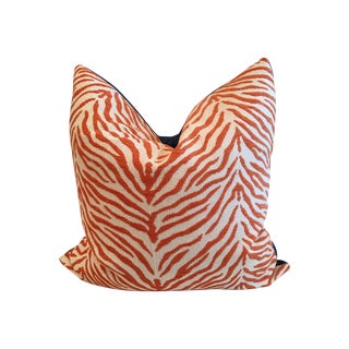 Orange Zebra Print Cobalt Blue Back Pillow