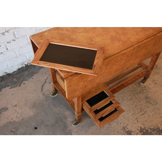 Bernhard Rohne for Mastercraft Burled Olive Wood Bar Cart - Image 8 of 11
