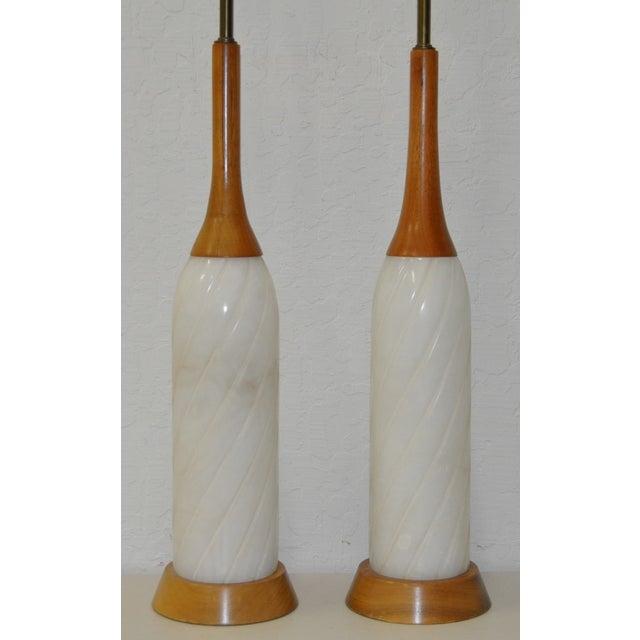 Vintage Teak & Alabaster Table Lamps - Pair - Image 3 of 5
