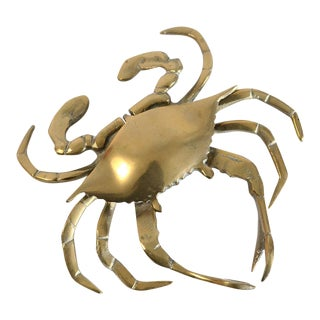 Vintage Brass Crab Figurine