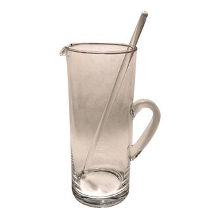 Mid-Century Clear Glass Cocktail Pitcher