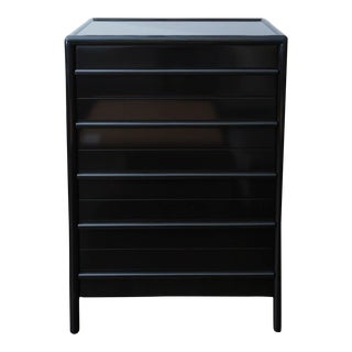 T.H. Robsjohn-Gibbings for Widdicomb Black Lacquered Highboy Dresser