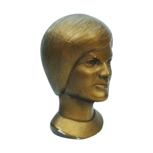1963 Jacqeline Kennedy Chalkware Bust Bronze - Image 1 of 6