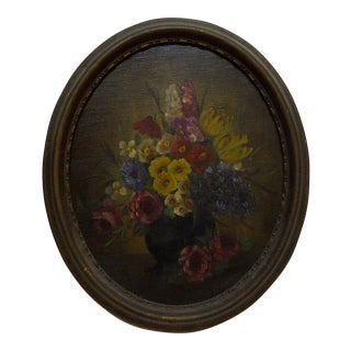 "Vintage Oval Frame Painting on Board ""Flowers"""