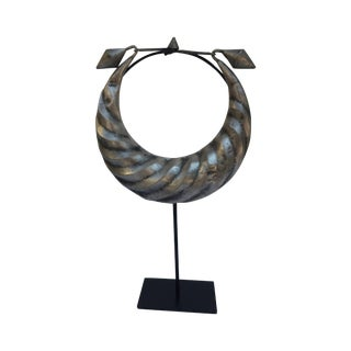 Vintage Tribal Metal Necklace on Stand