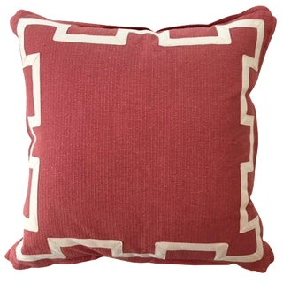Coral & Ivory Fretwork Linen Pillow
