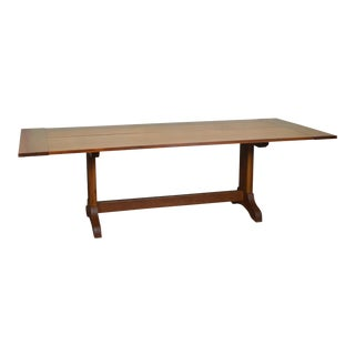 "Custom Crafted 96"" Solid Oak Plank Trestle Base Farmhouse Dining Table"