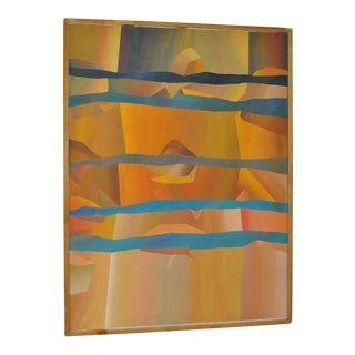 Vintage Abstract Oil Painting by California Artist Mike Lawrence c.1970s