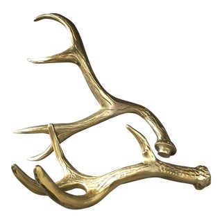 Solid Brass Decorative Antlers - A Pair