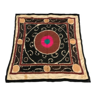 Antique Royal Suzani Embroidered Throw