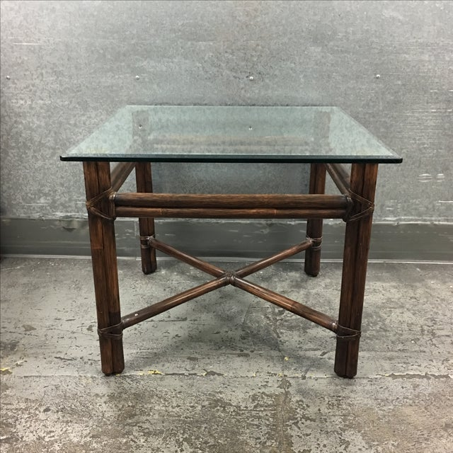 McGuire Bamboo & Glass Side Table - Image 2 of 6