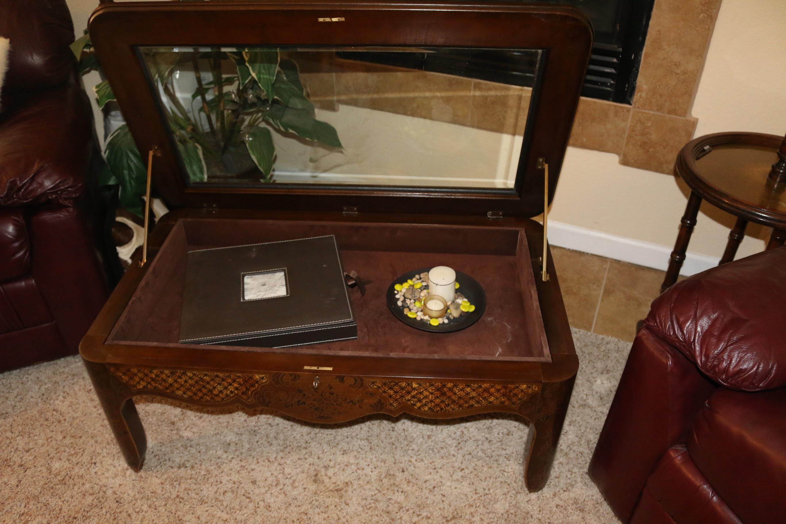 Drexel Curio Glass Top U0026 Burled Wood Coffee Table   Image 4 Of 11
