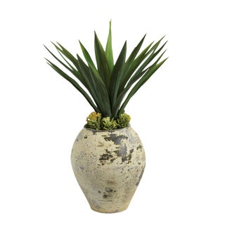 Earthware & Faux Yucca Needle Plant