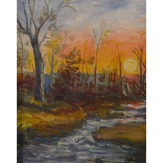 Vintage Painting - Autumn Forest at Sunset