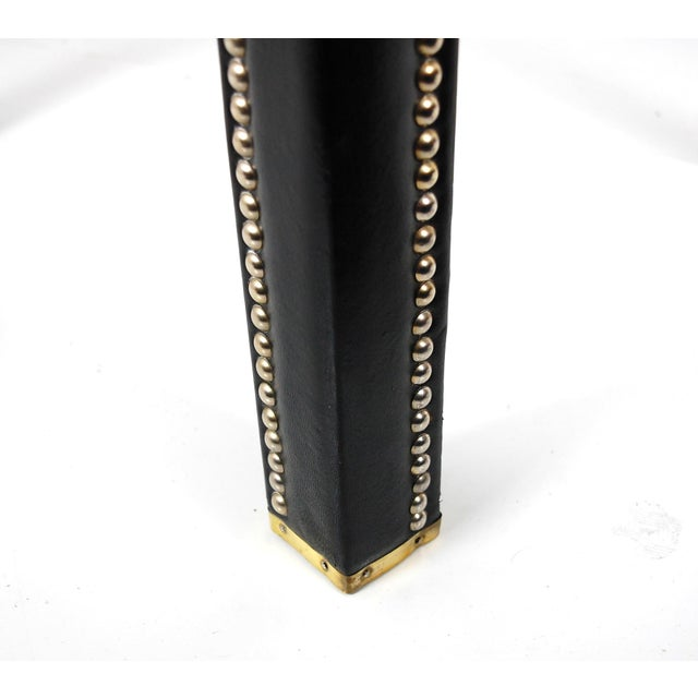 Italian Black Leather Studded End Tables - A Pair - Image 4 of 10