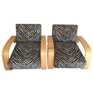 Alvar Aalto Zebra Print Lounge Chairs - A Pair